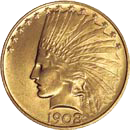 $10 Indian Head Eagle Gold Coin Obverse