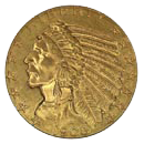 $5 Indian Half Eagle Gold Coin Obverse