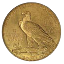 $5 Indian Half Eagle Gold Coin Reverse