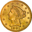 $2.50 Liberty Gold Coin Obverse